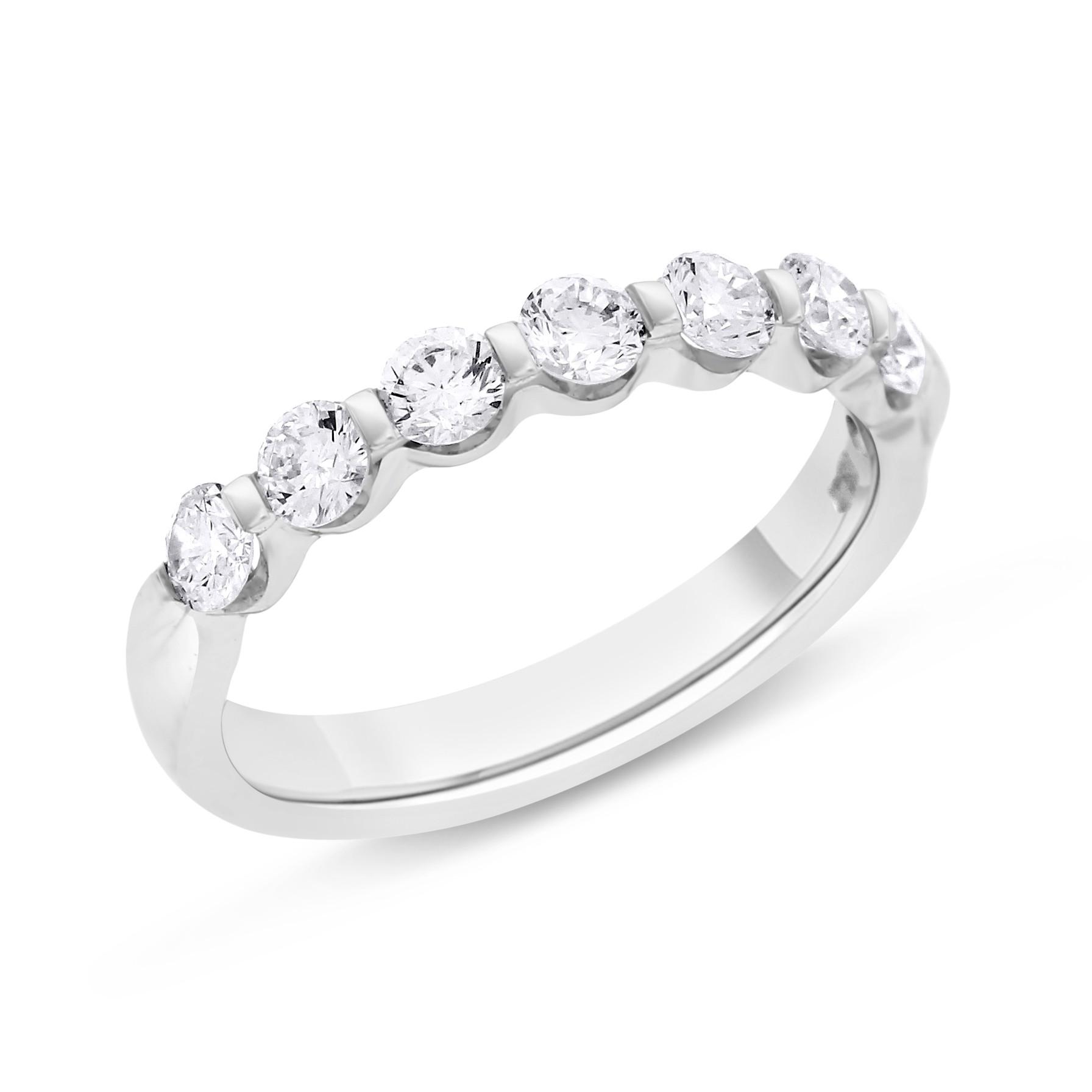 """Image of """"18k White Gold 0.74ct. Diamond Round Single Shared Prong Wedding Band"""""""