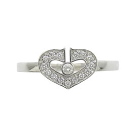 Cartier 18K White Gold with Diamond C Heart Ring Size 5.75