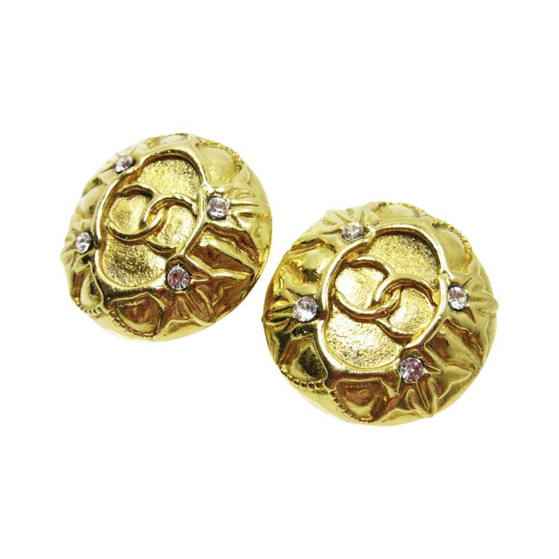 "Image of ""Chanel Gold Tone Metal Earrings"""
