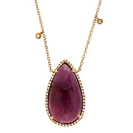 14K Rose Gold 16.44ct Sliced Ruby and Diamonds Necklace
