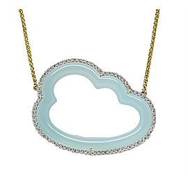 Pamela Huizenga 18K Yellow Gold Silver Lining Blue Chalcedony 1.80ct. Diamond Necklace