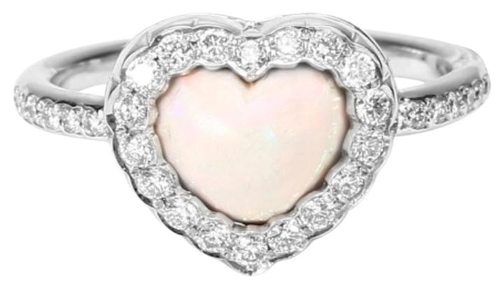 "Image of ""Christian Dior 18K White Gold 0.35ct Diamond Heart Ring Size 5.75"""