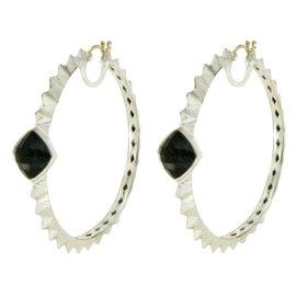 Stephen Webster 925 Sterling Silver & 14K Gold Crystal & Grey Cat Eye Earrings
