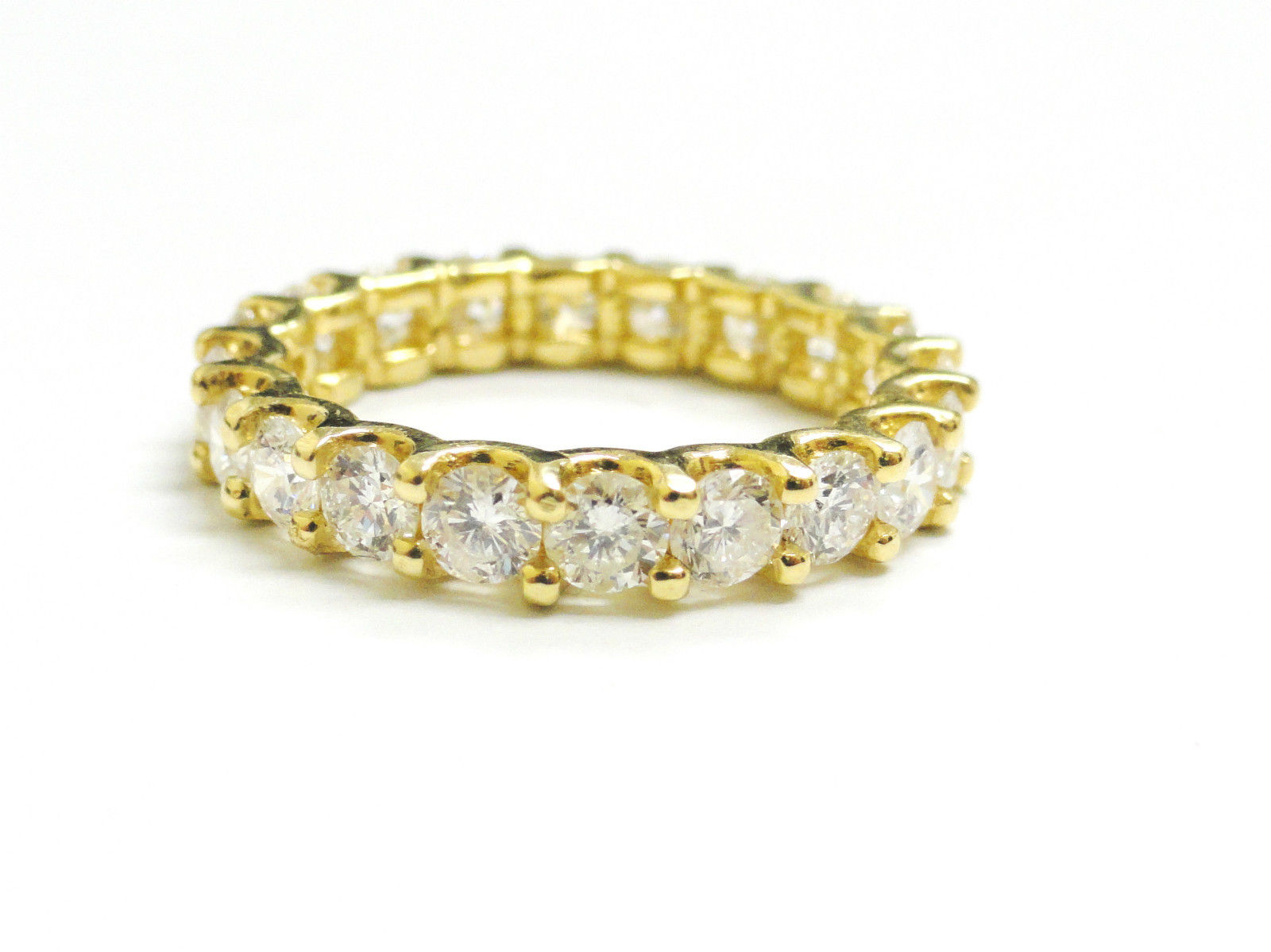 "Image of ""18K Yellow Gold Round Cut Diamond Eternity Band"""