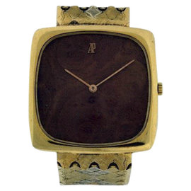 Audemars Piguet Classique 18K Yellow Gold & Wood Dial Mens Vintage Watch
