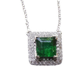 14K White Gold Aa Princess Cut Colombian Emerald Diamond Necklace