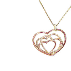 Chopard Cuorissimo 18K Rose Gold, Diamond, Pink Sapphire Heart Pendant Necklace