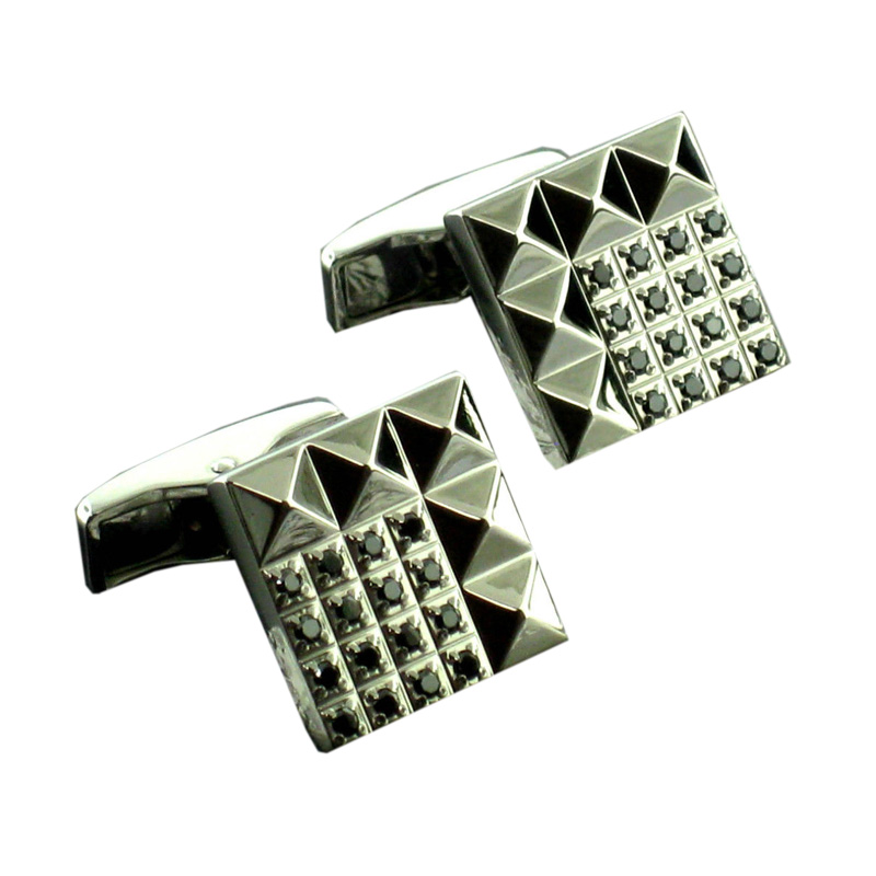 "Image of ""S.T.Dupont Stainless Steel & Black Diamond Cufflinks"""