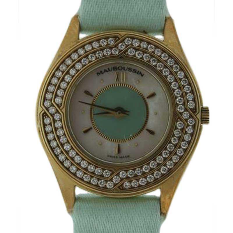 """Image of """"Mauboussin Ultra Thin 18K Yellow Gold Diamond 25mm Watch"""""""