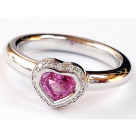 Chopard 18K White Gold Sapphire and Diamond Heart Ring