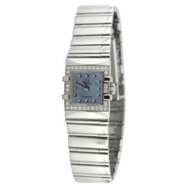 Omega Constellation Quadratta Blue Dial and Diamond Bezel Womens Watch