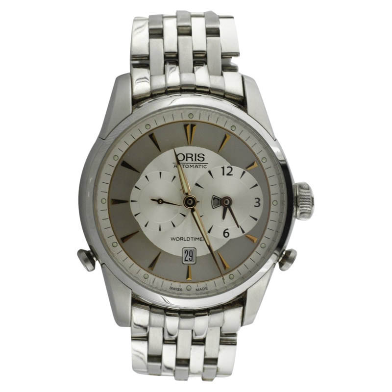 """Image of """"Oris Artelier Worldtimer Stainless Steel and Rose Gold Mens Watch"""""""