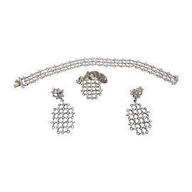 18K White Gold Diamond Necklace Earrings Bracelet