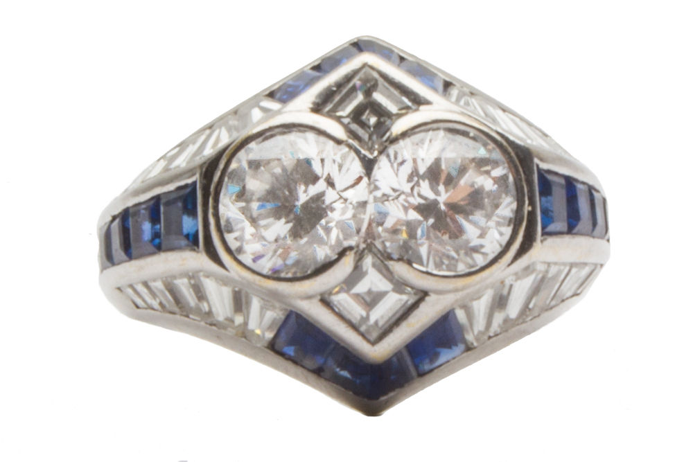 "Image of ""Adler 18K White Gold Diamond and Blue Sapphire Ring"""