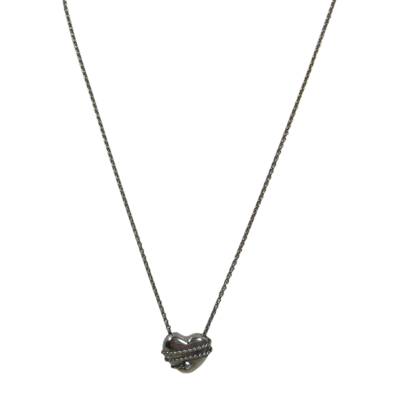 "Image of ""Tiffany & Co. 925 Sterling Silver Arrow Heart Necklace"""