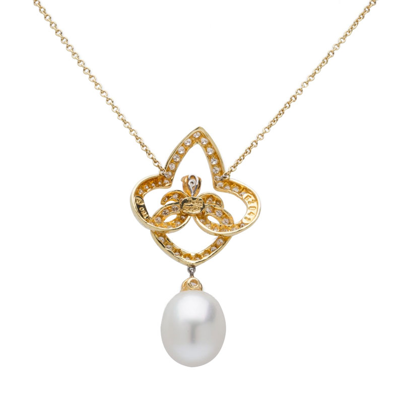 "Image of ""Henry Dunay 18K Yellow Gold Diamond & Pearl Pendant Necklace"""