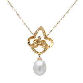 Henry Dunay 18K Yellow Gold Diamond & Pearl Pendant Necklace