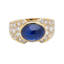 Van Cleef & Arpels 18K Yellow Gold Diamond & Sapphire Ring