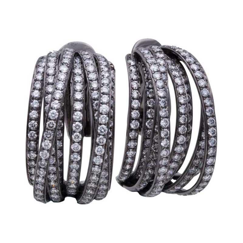 """Image of """"DeGrisogono 18K White Gold & Diamond Earrings"""""""
