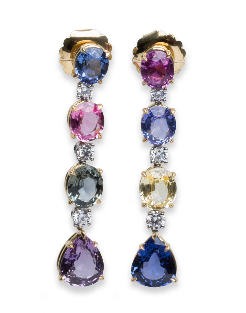 "Image of ""Bvlgari Hanging Diamond Sapphire Earrings Yellow Gold Platinum"""