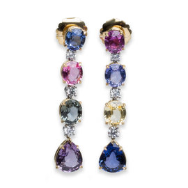 Bvlgari Hanging Diamond Sapphire Earrings Yellow Gold Platinum