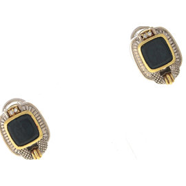 Judith Ripka 18K Gold 925 Sterling Silver Cameo Style Intaglio Earrings