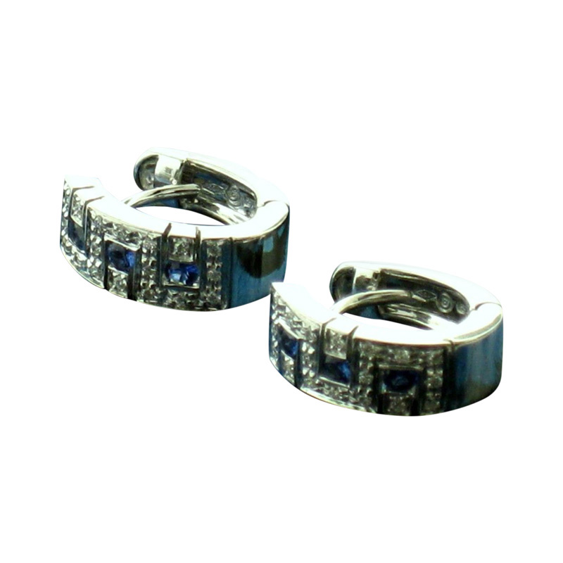 "Image of ""Salvini 18 kt White Gold with Diamonds and Sapphires Earrings"""