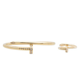 Cartier Diamond Juste Un Clou Bracelet and Ring Set 18K Yellow Gold