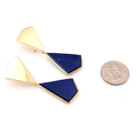 14K Yellow Gold Lapis Vintage Drop Dangle Earrings