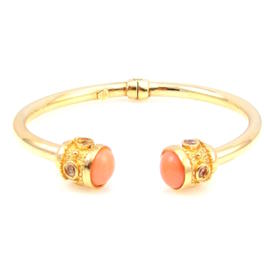 14K Yellow Gold Hinged Glass & Lucite Accents Bangle