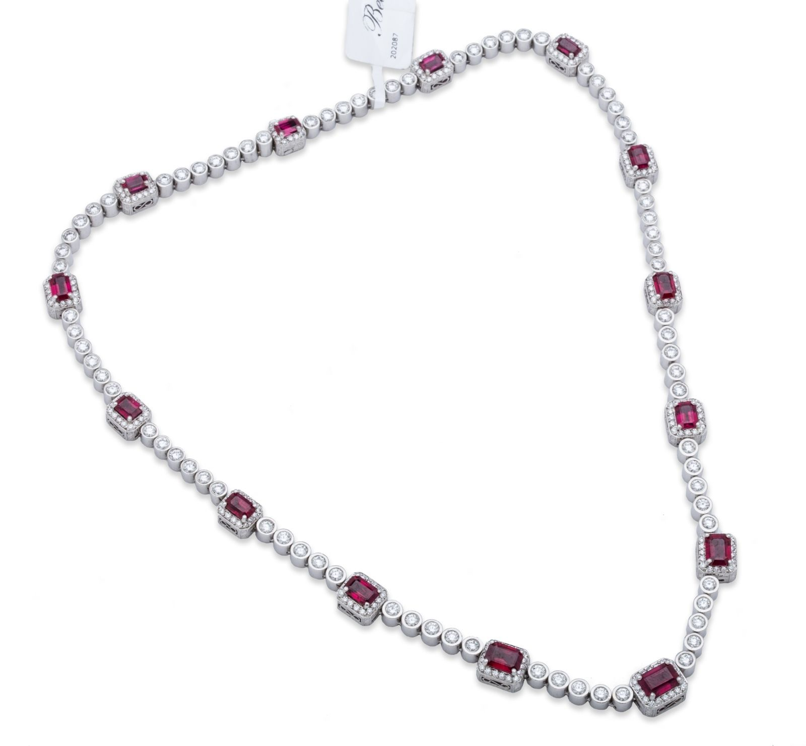 "Image of ""Michael Beaudry Diamond and Ruby Necklace Platinum"""