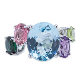 Asprey of London 18K White Gold Multicolor Gemstone Ring