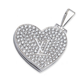 Louis Vuitton Diamond Heart Locket 18K White Gold Pendant