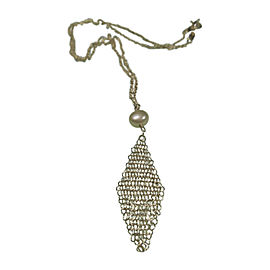 Tiffany & Co. Sterling Silver Mesh & Pearl Vintage Necklace