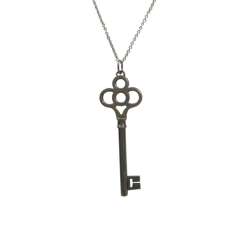 """Image of """"Tiffany & Co. 925 Sterling Silver Crown Key Pendant Charm Large"""""""