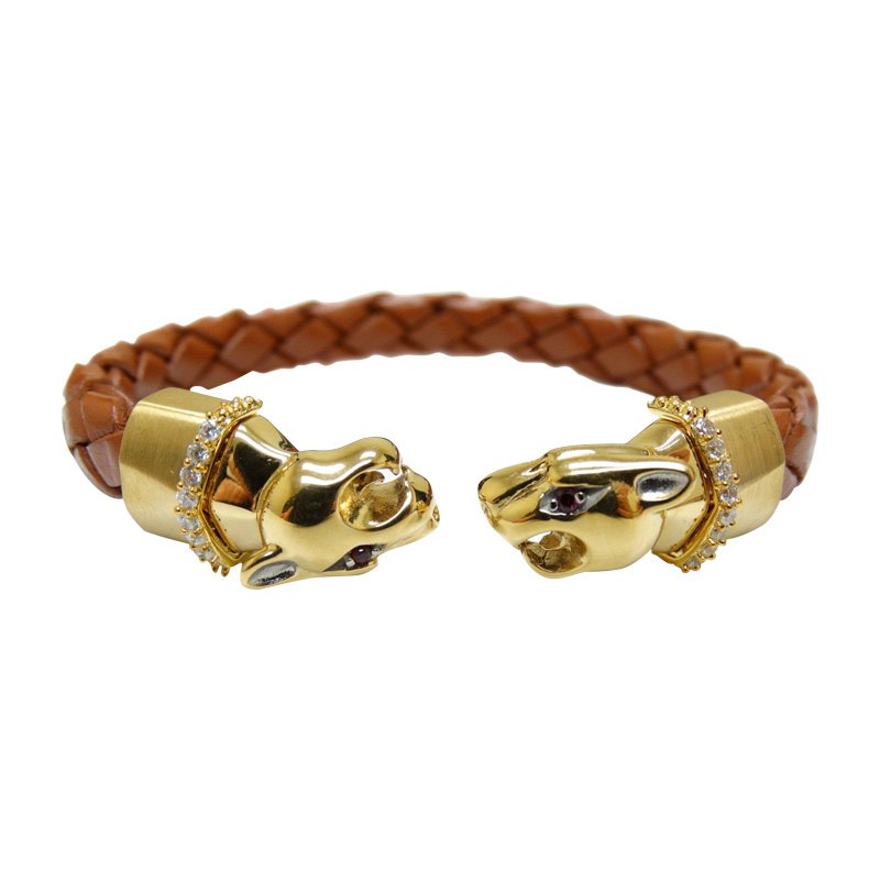 """Image of """"Stainless Steel Leather Panther Leopard Bracelet"""""""