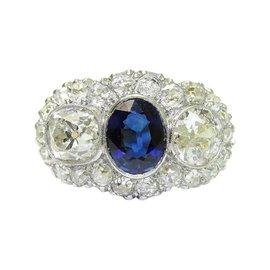 18K Platinum Old Minor Cut Diamond Sapphire Ring