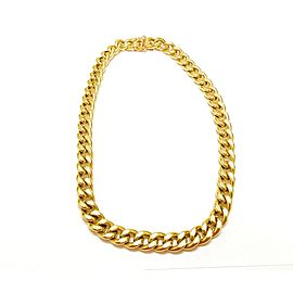 18K Yellow Gold Miami Link Chain Necklace