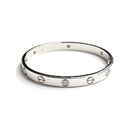 Cartier 18K White Gold Diamond Love Bracelet Size 16