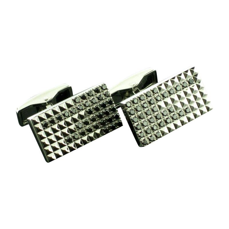 "Image of ""S.T.Dupont Stainless Steel Black Diamonds Cufflinks"""