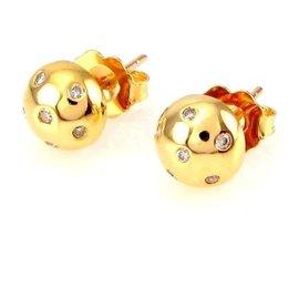 18K Yellow Gold Flush Set 0.08ctw Diamond Dome Stud Earrings