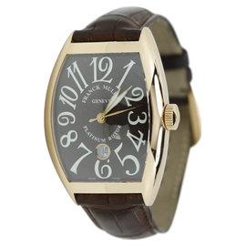 Franck Muller 18K Rose Gold Platinum Rotor on a Brown Alligator Strap Watch