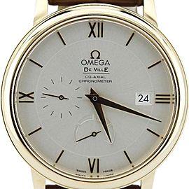 Omega Deville 424.53.40.21.02 Prestige Power Reserve 18K Gold Brown Alligator Watch