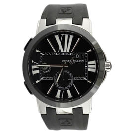 Ulysse Nardin Executive Black Dial Dual Time Rubber Ceramic Strap 43mm Watch