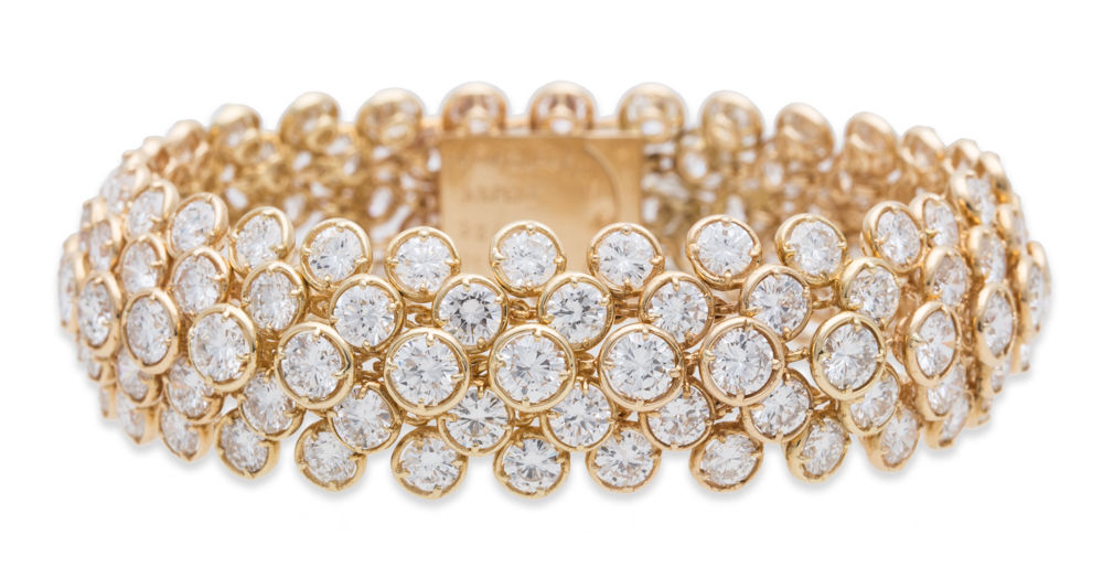 "Image of ""Van Cleef and Arpels 18K Yellow Gold 40.ct Diamond Bracelet"""