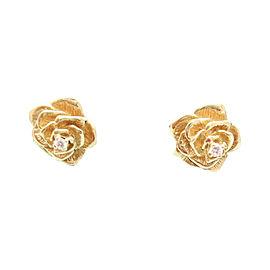 Tiffany & Co 14K Yellow Gold Diamond Rose Flower Omega Earrings