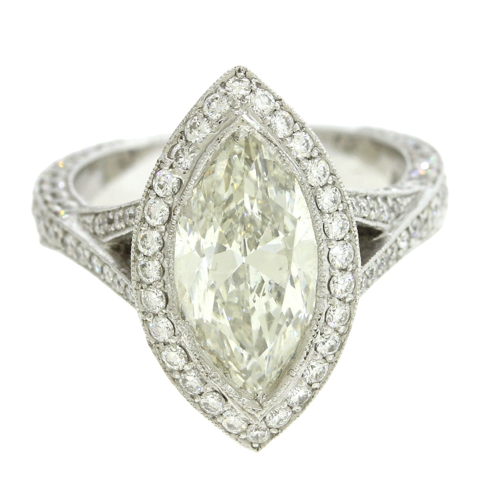 "Image of ""18k White Gold Marquise & Round Cut 4.47Ct Diamond Halo Engagement"""