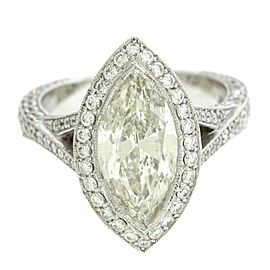 18k White Gold Marquise & Round Cut 4.47Ct Diamond Halo Engagement Ring