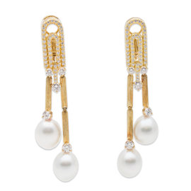Henry Dunay 18K Yellow Gold Pearl and Diamond Earrings