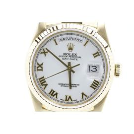 Rolex Day Date President 18238 18K Yellow Gold White Dial Mens Watch